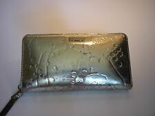 KATE SPADE NEW YORK Shiny Gold Leather Zip Around Wallet
