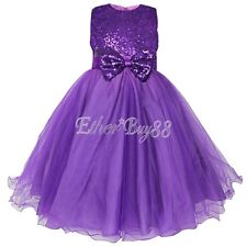 US Pageant Flower Girl Dress Kids Birthday Wedding Bridesmaid Gown Formal Dress