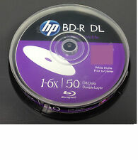 10x HP Blu Ray BD-R/BDR 3D DL 50GB 6x Dual Layer Recordable DVD Inkjet Printable