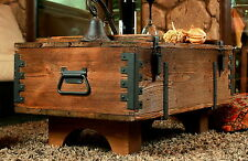 OLD TRAVEL TRUNK Coffee Table Cottage Steamer Trunk PINE CHEST Vintage Box (16A)