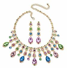 PalmBeach Jewelry Multicolor Crystal Gold Tone Necklace and Earrings Jewelry Set