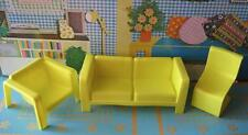 VTG 1970s BARBIE LIVE ACTION TOWNHOUSE TOWN HOUSE Living Room YELLOW Couch Chair