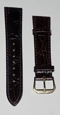 19mm DARK RICH BROWN CROC GRAIN LEATHER MENS WATCH BAND!