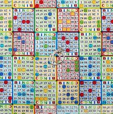 BonEful Fabric FQ Cotton Quilt USA Bingo Game Chip Dabber Rainbow S Card Dot B&W