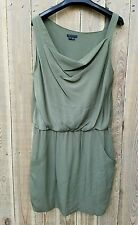 THEORY Olive Green Silk Sleeveless Cowl Neck Blouson Dress Size 6 With Pockets
