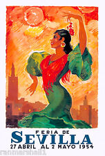 1954 Feria de Sevilla Fair of Seville Spain Vintage Travel Advertisement Poster