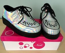 "STUNNING LADIES HOLOGRAPHIC ""TEDDY BOY"" CREEPERS CREPE SHOES - SIZE 5 - BNIB!"