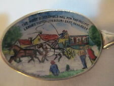US Mail Postal Tipton MO Enamel Sterling Souvenir Spoon Portrait Butterfield
