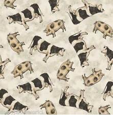 Cow & Pig Cotton Fabric Metre Farm Chic Cattle Country Friesian Kate McRostie 1m