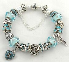 New PANDORA BARREL CLASP Bracelet with AQUA LOVE themed European Charms & Beads