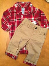 Baby Gap Boy 3-6m Plaid Shirt And Khaki Pants NWT