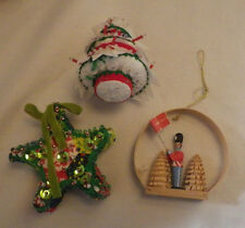 "Lot of 3 Christmas Ornament Star Tree Nutcracker Decoration 3"" Tall Ornament"