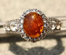 Baltic Amber White Topaz Ring Platinum Overlay 925 Nickel Free Sterling Silver