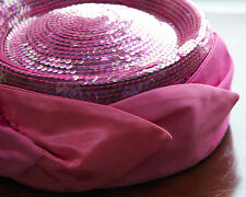 VINTAGE CHURCH HAT WHITTHALL & SHON JC PENNY $100 TAG PINK ROUND  SEQUIN 7 3/4