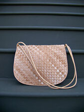 BOTTEGA VENETA Authentic Intrecciato Tan Nappa Leather Calf Hair Purse w/ Mirror