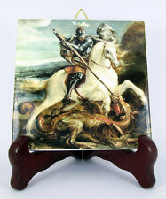 St George and the dragon religious icon on ceramic tile catholic saint holy art