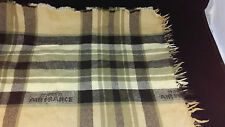 Collectible Vintage Air France Wool Airline Blanket 50x48 Brown Tan Ivory Plaid
