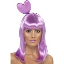 Womens Candy Queen Wig & Lilac Heart Headband Music Katy Fancy Dress Perry Pop