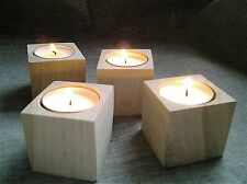 4Lovely Rustic Wooden Birch Tree Tea Light Wood Candle Holders Wedding Christmas