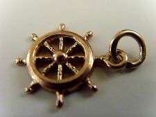 "VINTAGE 9 ct GOLD HALLMARKED  "" SHIPS WHEEL""   CHARM"