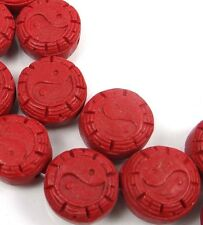 10 Cinnabar Carved Yin Yang Yinyang Coin Disc Beads 16mm