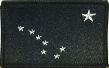 ALASKA STATE Flag Patch  VELCRO® brand fastener BLACK & WHITE BLACK Border #4