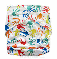 Modern Reusable Washable Baby Cloth Nappy Cloth Diapers + Insert Colourful Hands