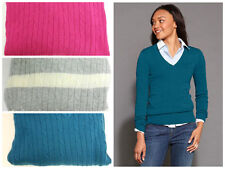 New Womens Tommy Hilfiger Cotton V Neck Cable Knit Sweater Pullover Small Jade