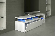 Zenia TV DVD Media Unit Living Room Furniture White with Blue Multi LED Lights