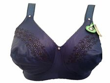New Navy Blue Soft Cup Bra UK 38F Eur 85F Fr 100F No wire Supportive wide straps
