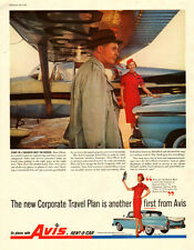 1959 vintage AD, AVIS Rent-a-CAR, Corporate Travel Plan, Hostess in Red -041114