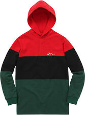 Supreme Block Striped Hooded Rugby Large Dark Green Box Logo Arabic Rasta Jordan