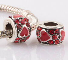 2pcs silver love red LAMPWORK CZ spacer beads fit Charm European Bracelet ZZ970