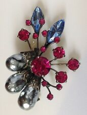 broche vintage couleur argent perle grise cristaux rosé navette bleu /87