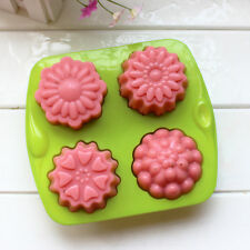 4 Cavity Flower Silicone Pudding Jelly Soap Mold Moon Cake Decorating Mould Tray