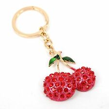 Cherry oxheart Leaves Leaf New Cute Crystal Pendant Charm Purse Bag Key Chain Gi