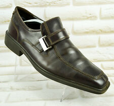 ECCO Mens Brown Leather Formal Casual Slip On Shoes Size 8 UK 42 EU