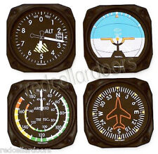 TRINTEC Aircraft Instrument COASTERS 9075 Altimeter Gyro Horizon 4 pc Coaster