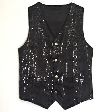 Unisex Sequin Vest Waistcoat Dance Party Show Costume Mens Womens Boys Girls
