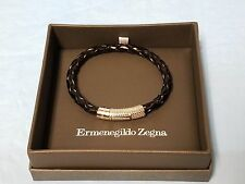ERMENEGILDO ZEGNA BRAIDED BLACK ROUNDED LEATHER STERLING SILVER CLASP BRACELET
