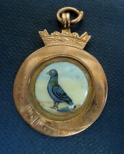 9ct Rose Gold Enamel Pigeon Fob Medal Ledger 1931 Astley Flying Club Dukinfield