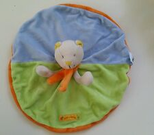 Doudou MOULIN ROTY Nestor capucine chat plat vert orange bleu
