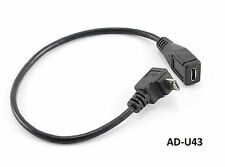 "9"" USB Micro-B Male Right Angle (Down Position) to Female Extension Cable AD-U43"
