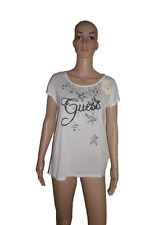 BNWT GUESS  T-SHIRT TOP  SIZE LARGE L UK 12 WHITE GRAPHIC SUMMER PARTY AUTHENTIC