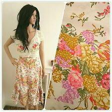 Vintage 70s Cream Pink Rose Floral Bouquet Cotton Ruffle Skirt 50s 8 36