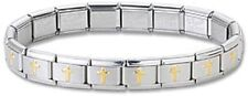 Italian Charm Bracelets Stainless Steel Religious Gold Cross Modular Links 9mm