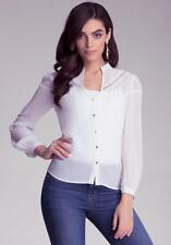 BEBE WHITE EYELET MESH YOKE SILK BLOUSE NEW NWT TOP SHIRT $109 LARGE L
