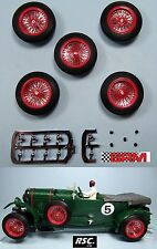 "BRM 23"" 5X RED SPOKED ALLOY WHEELS 25,5 x 7mm SCALEXTRIC BENTLEY ALFA BUGATTI"