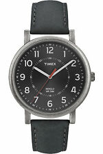 Timex T2P219, Men's Classic, Dark Grey Leather Watch, Indiglo, T2P2199J