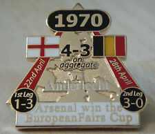ARSENAL v ANDERLECHT Victory Pins 1970 EUROPEAN FAIRS CUP Danbury Mint badge